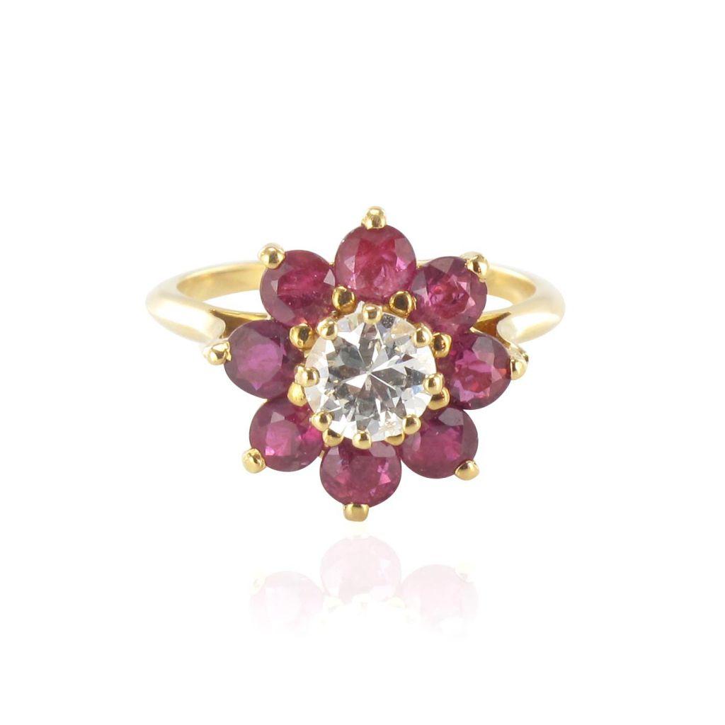 Bague rubis et diamant