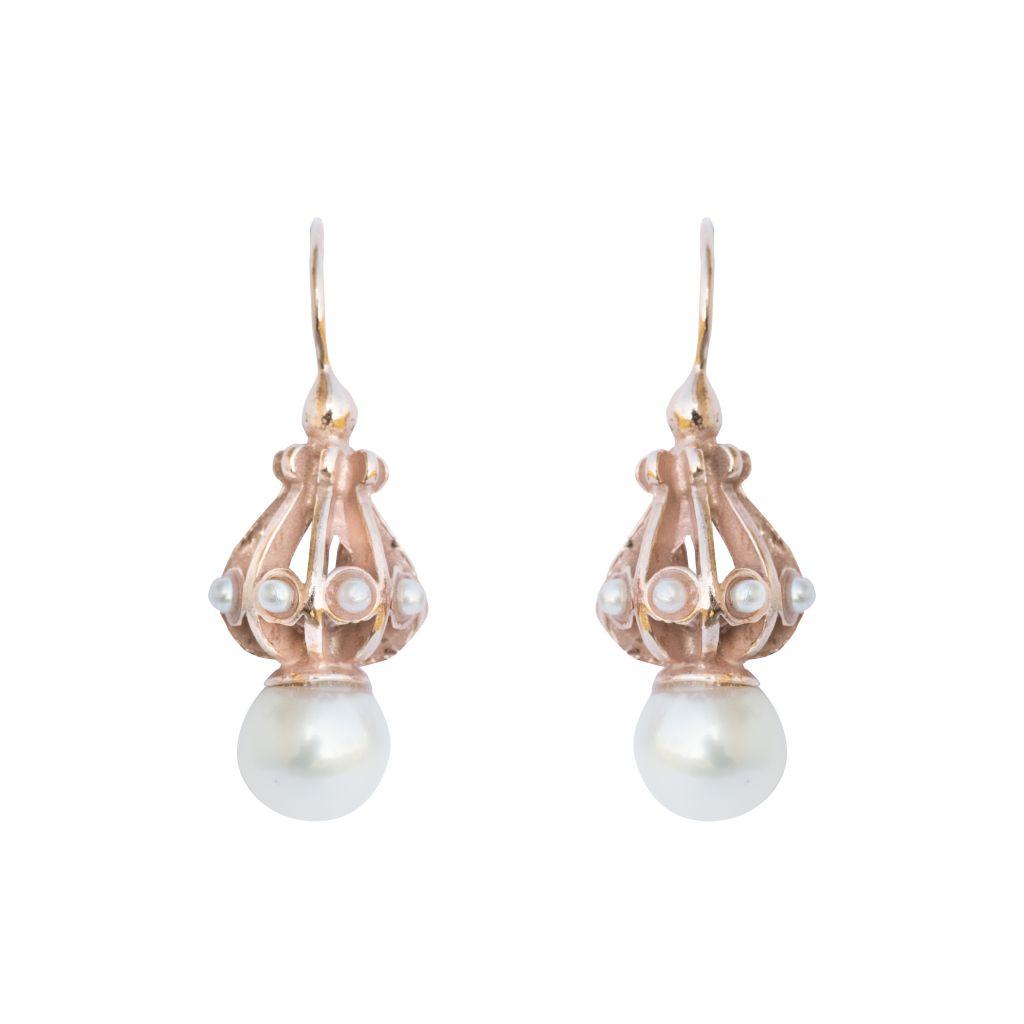 Boucles d'oreilles argent, or rose et perles