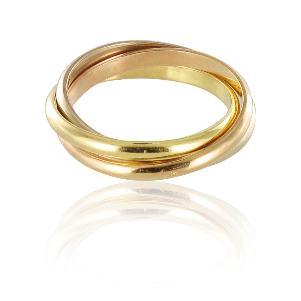 Bague anneaux or jaune et blanc
