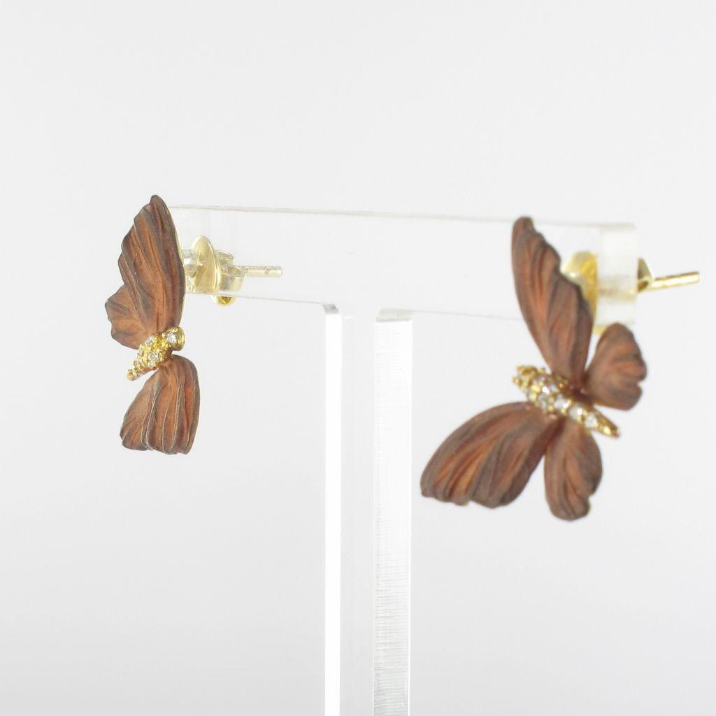 Boucles d'oreilles papillons émail diamants