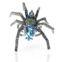Bague araignée argent topazes saphirs et grenats