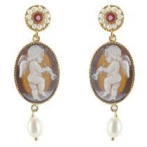 Boucles d'oreilles camée ange et perles