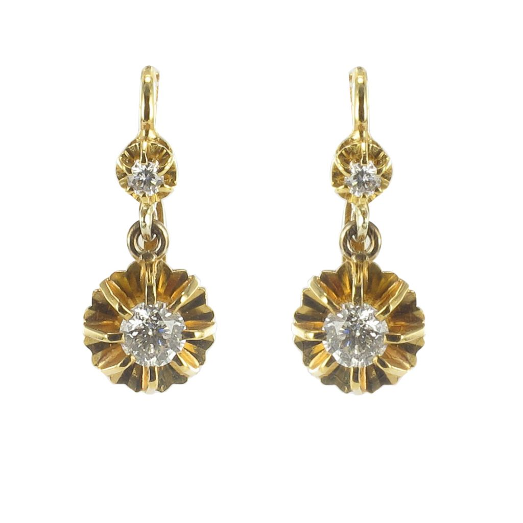 Boucles d'oreilles trembleuses diamants en or jaune
