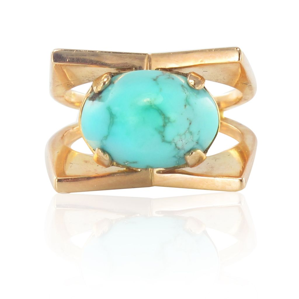 Bague turquoise or rose ancienne
