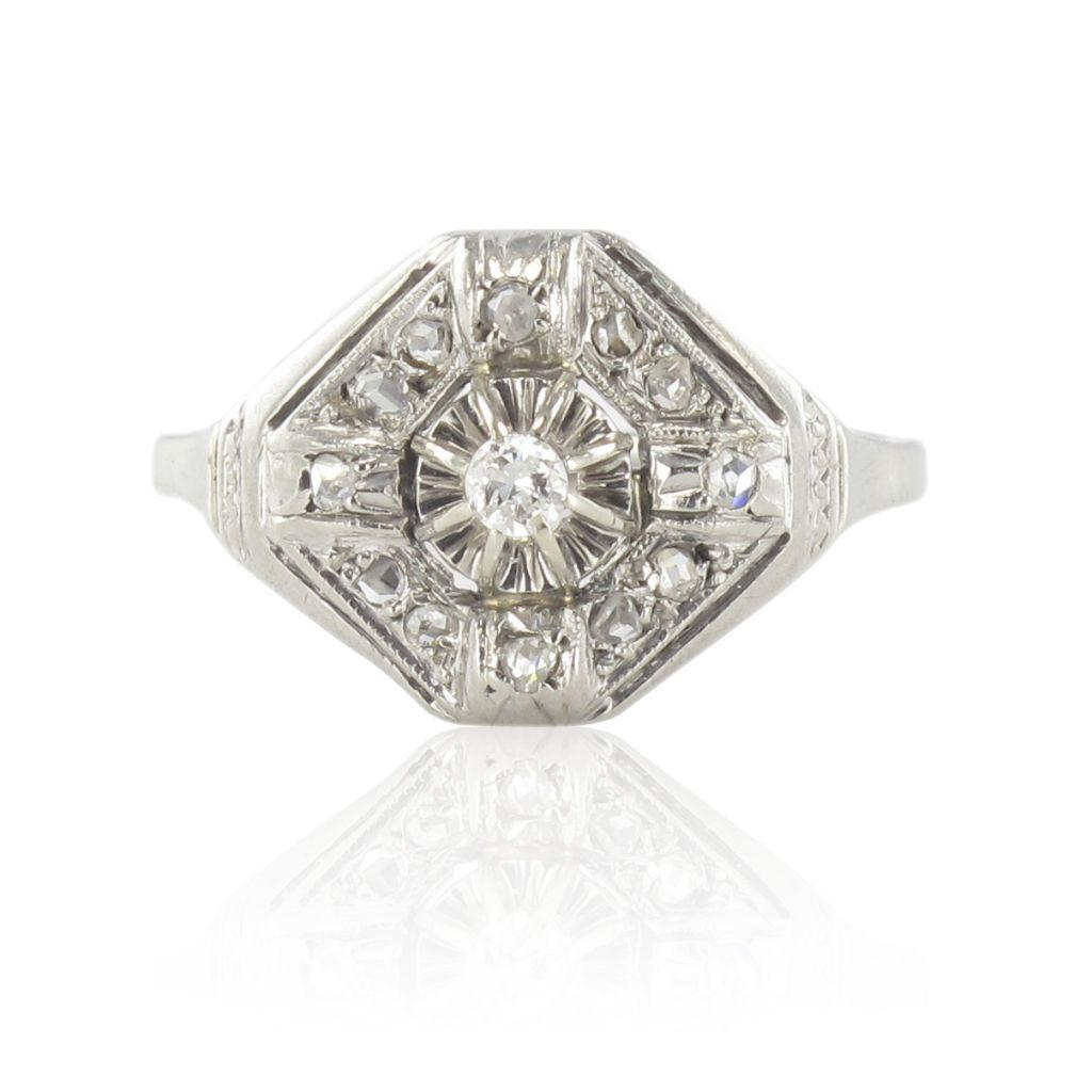 Bague art déco ancienne diamants