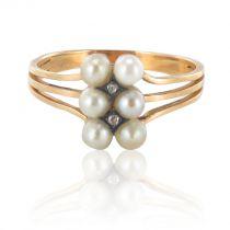 Bague ancienne Perles fines et Diamants