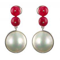 Boucles d'oreilles rubis et perles mabé