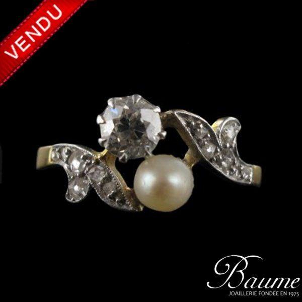 Bague  toi et moi Perle et Diamants