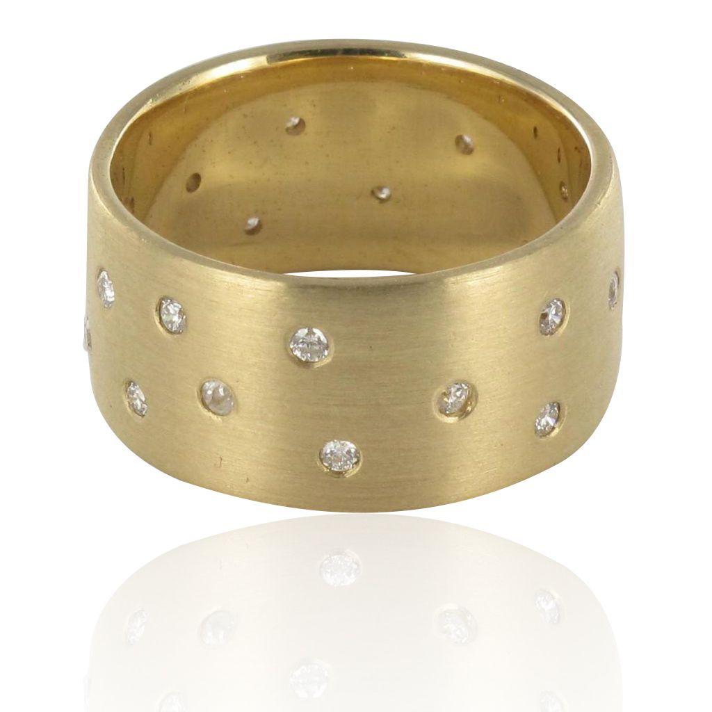 Bague alliance diamants or brossé