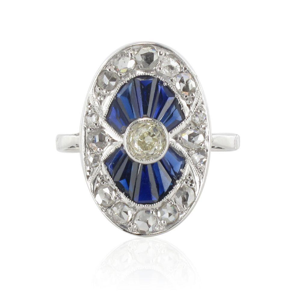 Bague ancienne diamants et saphirs calibrés