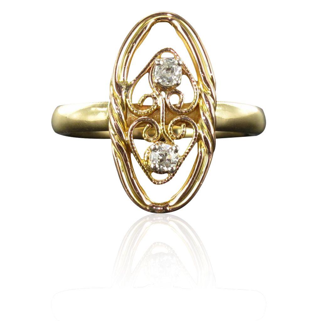 Bague ancienne diamants filigranée