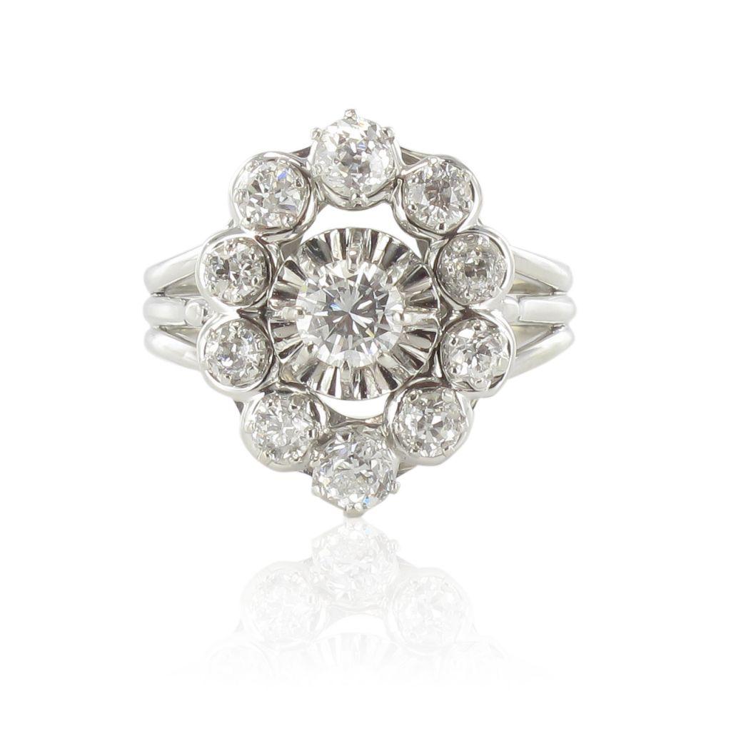 bague ancienne diamants platine or bague de fian ailles bijouxbaume. Black Bedroom Furniture Sets. Home Design Ideas