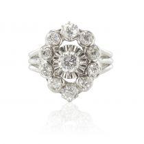 Bague ancienne diamants platine or