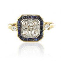 Bague ancienne diamants saphirs