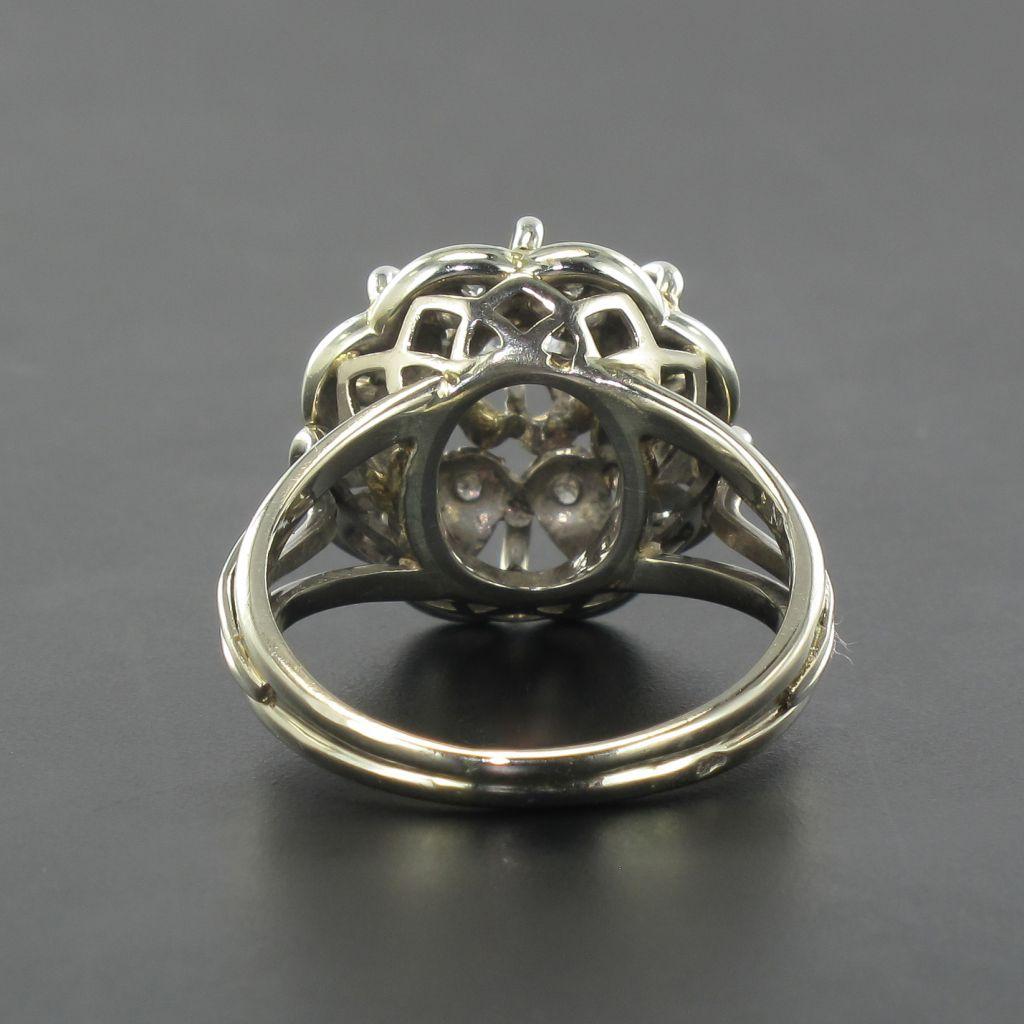 Bague ancienne fils d\'or blanc et diamants