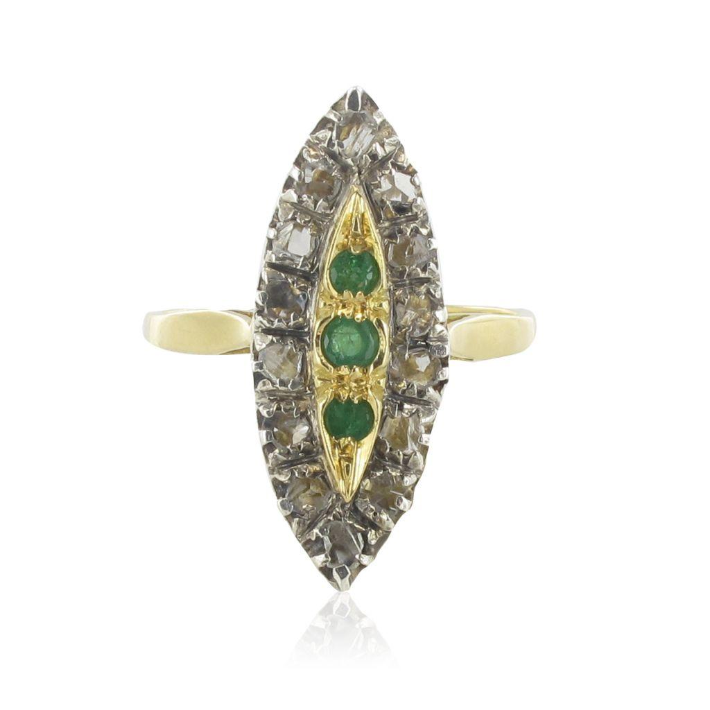 Bague ancienne marquise émeraudes et diamants