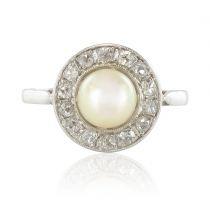 Bague ancienne perle diamants taillés en rose