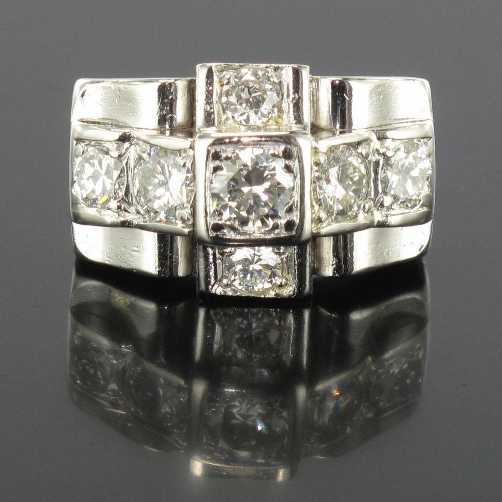 Bague art déco diamants platine