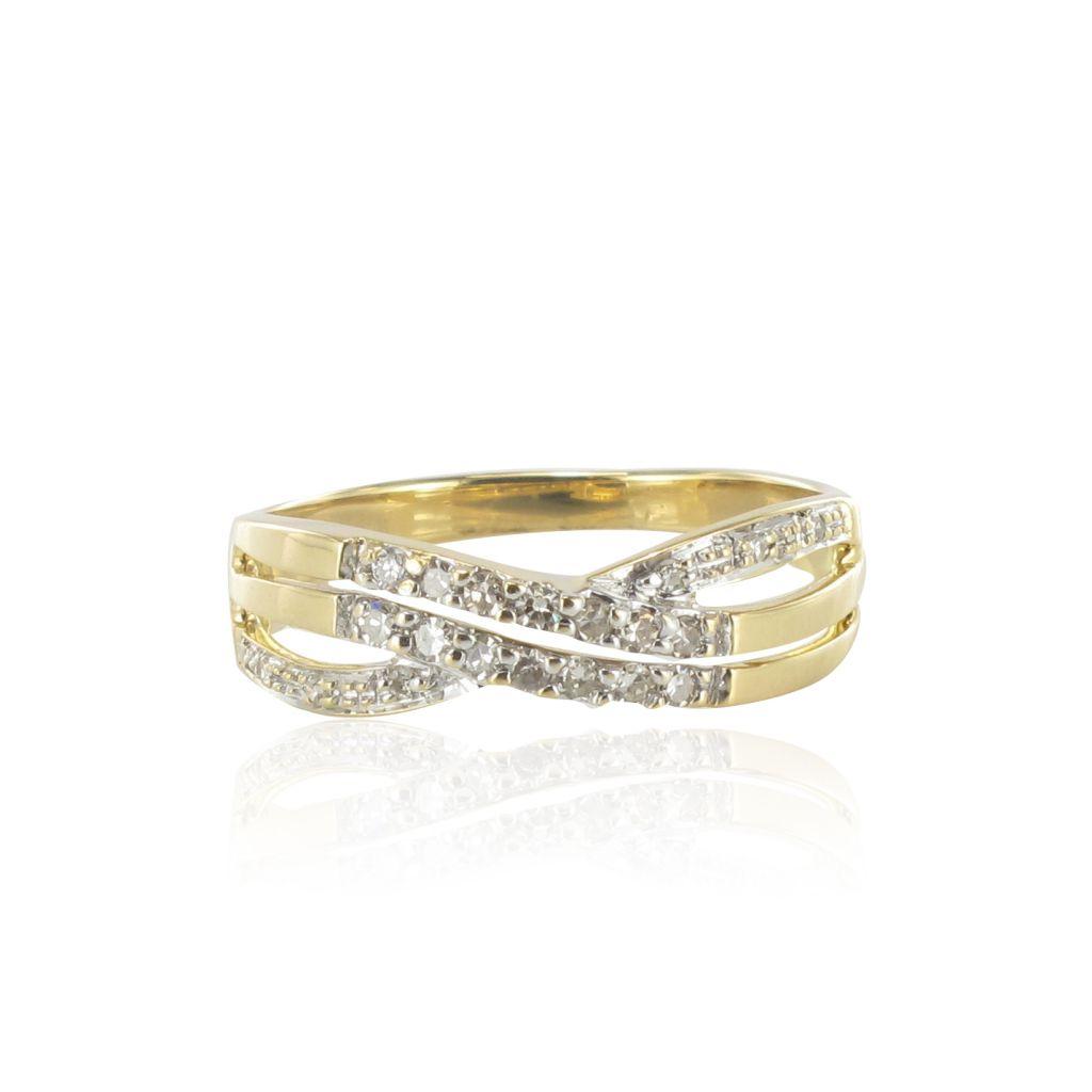 Bague croisée or jaune et diamants