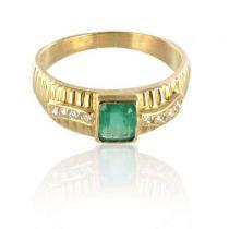 Bague émeraude et diamants en or jaune