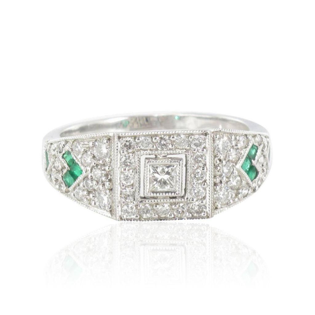 Bague Emeraudes et Diamants esprit 1930