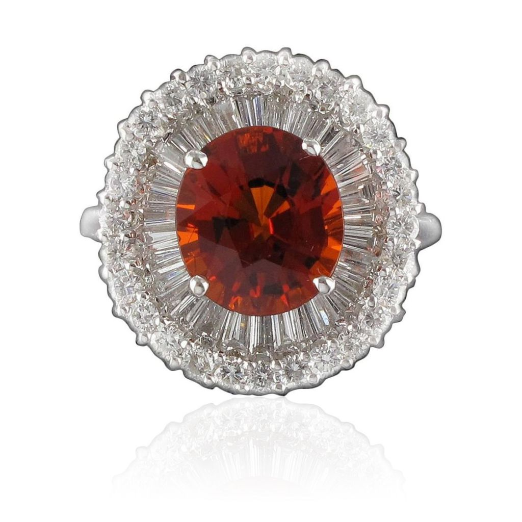 Bague Grenat Spessartite et Diamants