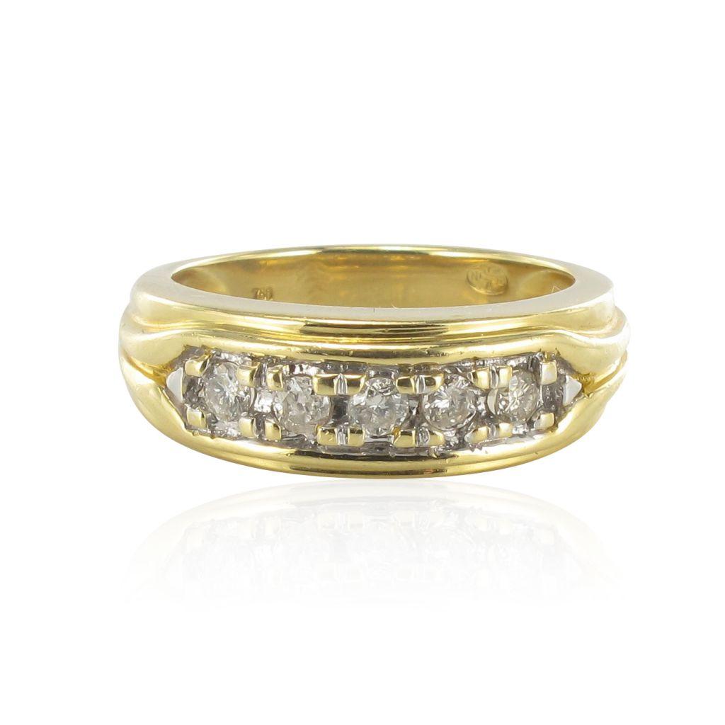 Bague jonc or jaune diamants