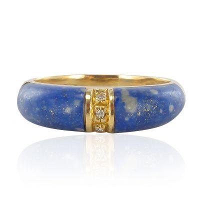 SUPERBE-Bague-lapis-lazuli-diamants-Or-jaune-18K-Contemporain-Ring