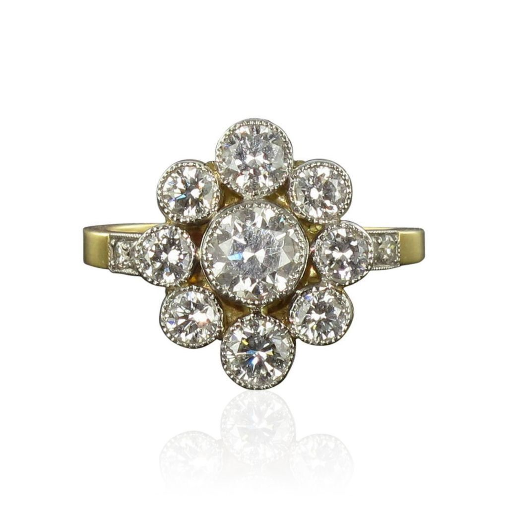 Bague marguerite diamants revisitée