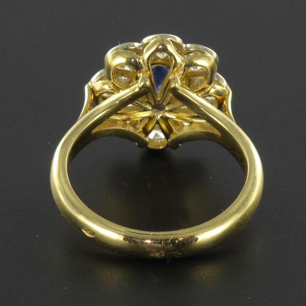 Bague marguerite saphir diamants or jaune