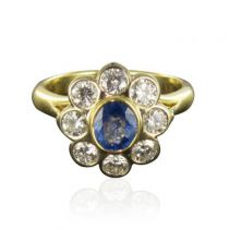 Bague marguerite saphir diamants or jaune
