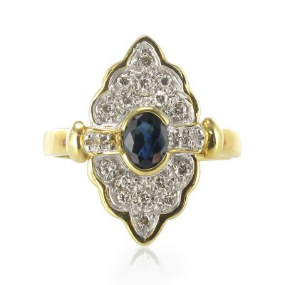 Exceptionnel Bague marquise Saphir diamants Or jaune 18K Moderne Classique Ring  HE71