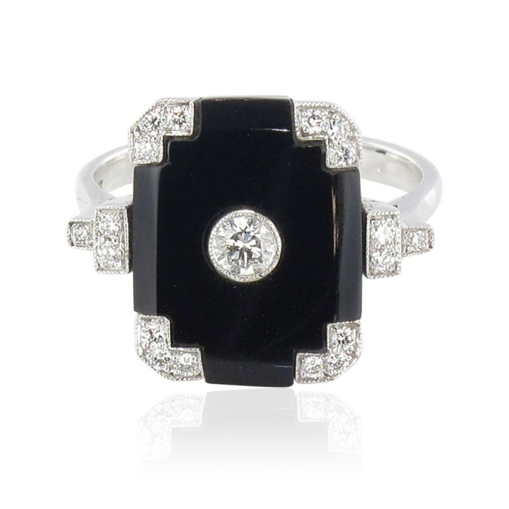 Bague onyx et diamant