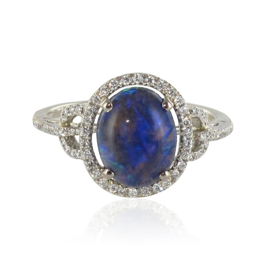 Bague opale noire et diamants