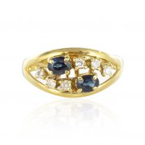 Bague or jaune saphirs diamants