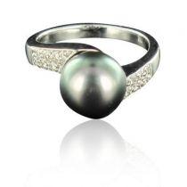 Bague perle de tahiti diamants