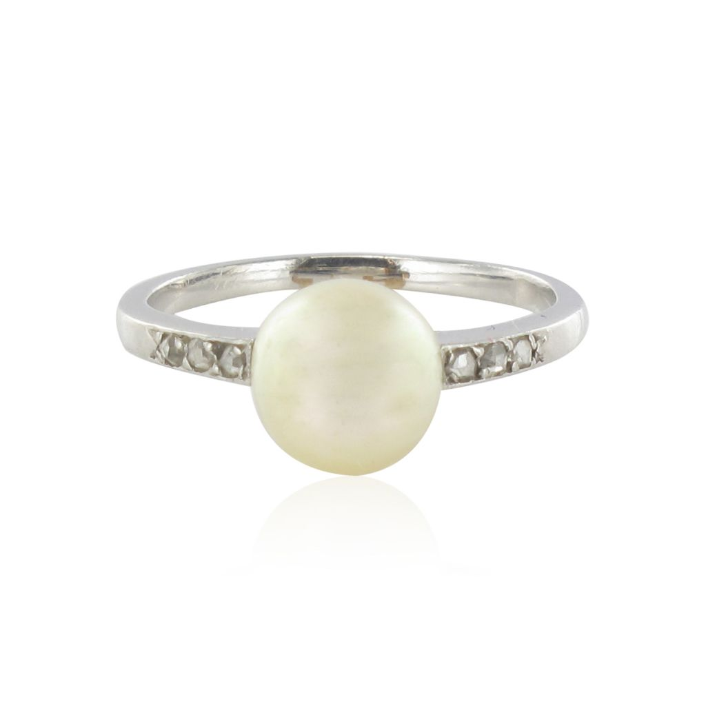 Bague En Platine Homme : Bague ancienne platine perle et diamants bijouxbaume