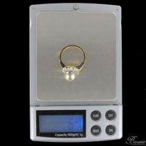 Bague perle grise et diamants