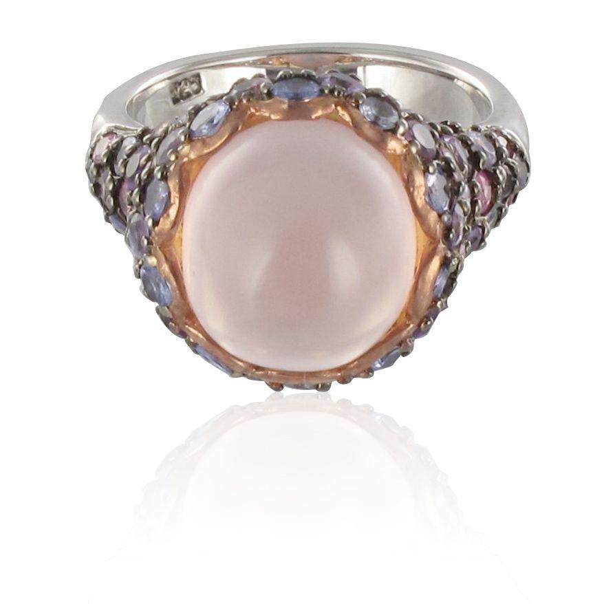 Bague quartz rose, saphirs, tanzanites et améthystes