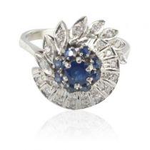 Bague saphirs et diamants vintage