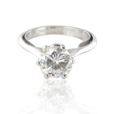 SUPERBE-Bague-solitaire-femme-diamant-Or-blanc-18K-Contemporain-Ring