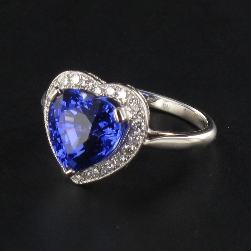Bague Tanzanite coeur et Diamants