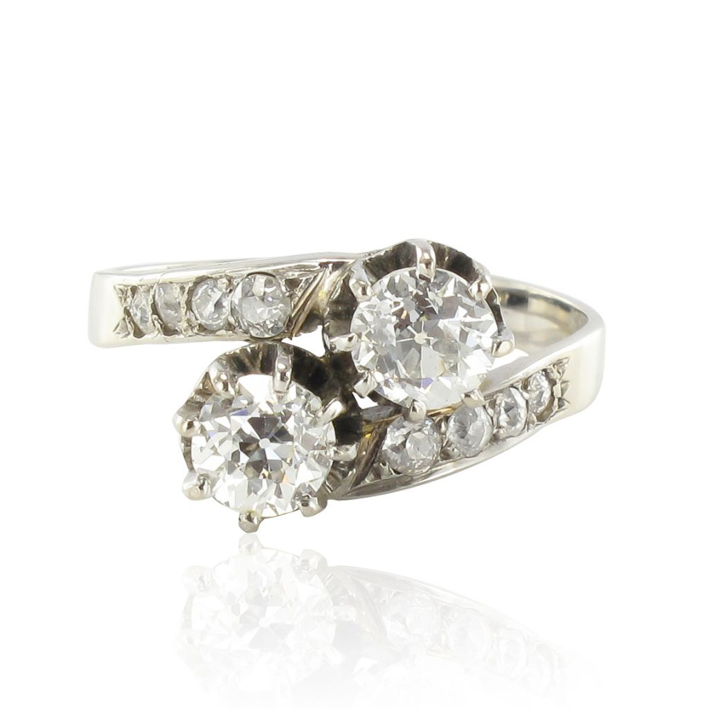 bague toi et moi diamants or blanc bague de fian ailles. Black Bedroom Furniture Sets. Home Design Ideas