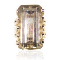 Bague vintage or quartz fumé