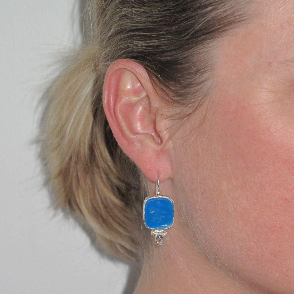 Boucles d 'oreilles argent Camée et perles