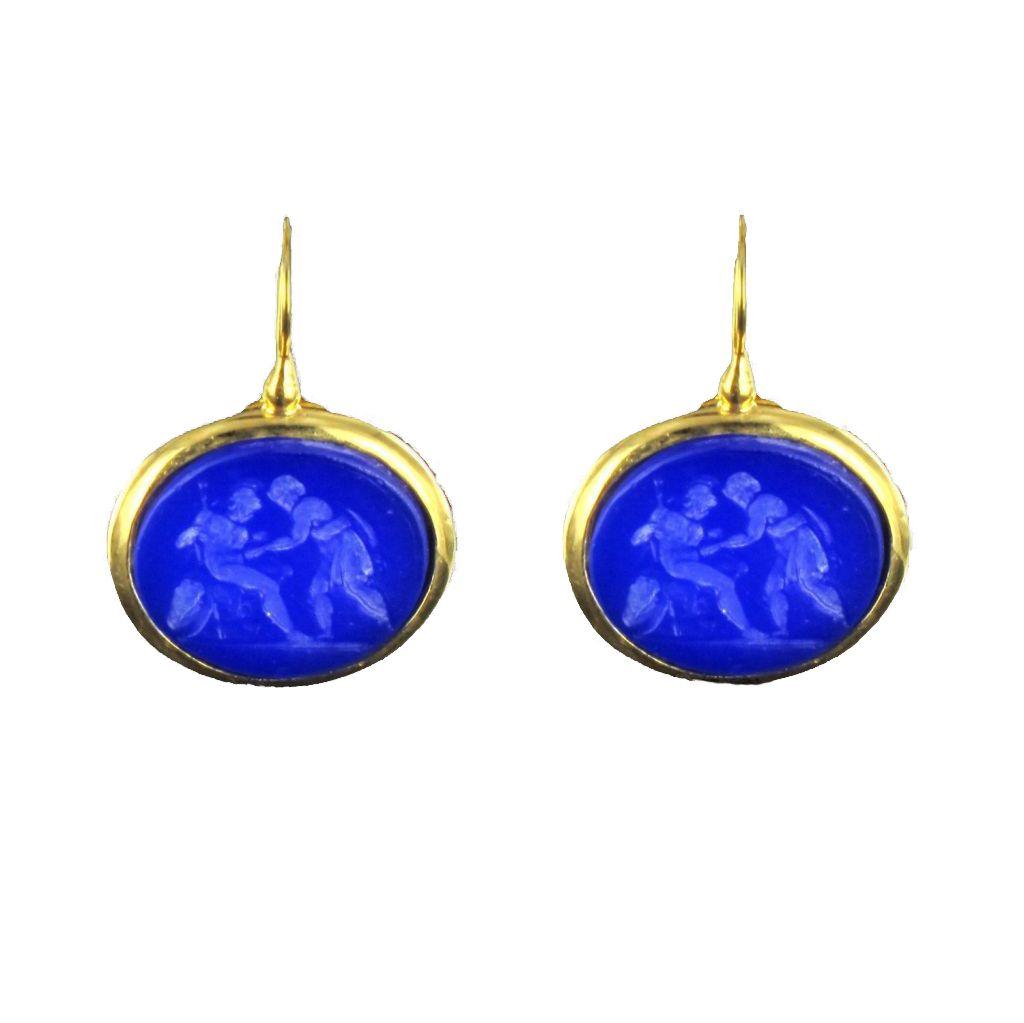 Boucles d 'oreilles Camées bleus