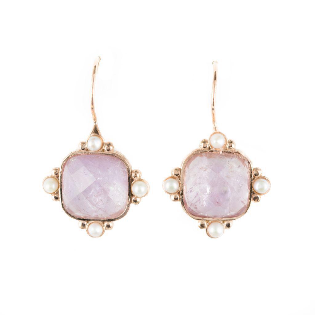 boucles d 39 oreilles cristal rose et perles bijouxbaume. Black Bedroom Furniture Sets. Home Design Ideas