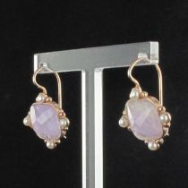 Boucles d 'oreilles cristal rose et perles