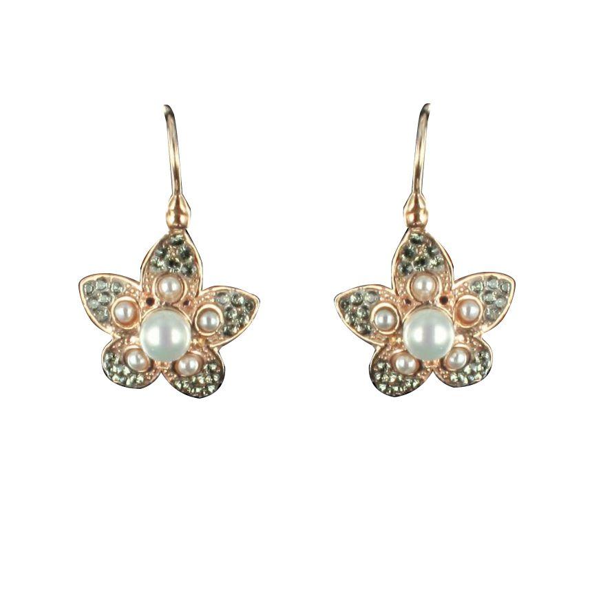 Boucles d 'oreilles cristaux et perles