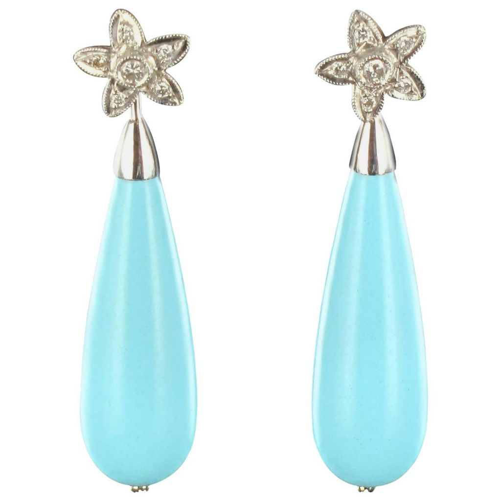 Boucles d'oreilles diamants goutte de turquoise Or blanc 18K Classique Earrings
